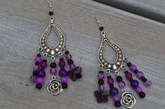 Boucles d'oreilles fantaisie argentées, perles de verre, papillons en cristal et breloques argentées : Boucles d'oreille par les-babioles-de-sandrine