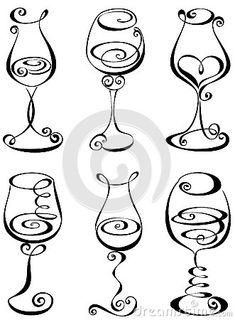 Set stylized wine glass