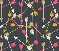 Arrows - Scattered on Navy fabric by papersparrow on Spoonflower - custom fabric