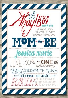 Printable Nautical Baby Boy Shower Invitation