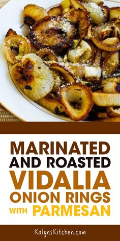 Marinated and Roasted Vidalia Onion Rings with Parmesan are a super delicious side dish that's also really easy to make! Vidalia onions do have some carbs, but these are much lower in carbs than regular onion rings. Side Dish Recipes, Veggie Recipes, Vegetarian Recipes, Cooking Recipes, Healthy Recipes, Summer Vegetable Recipes, Cooking Pasta, Parmesan Recipes, Sausage Recipes