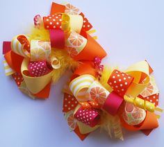 boutique FUNKY fun BRIGHT CITRUS pair of hair bow clips by andjane, $22.99