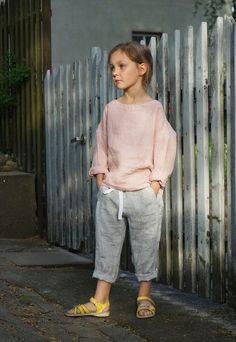 Light grey unisex linen pants trousers for boys, girls, kids, handmade, organic, natural, light melange and yellow, toddler, children