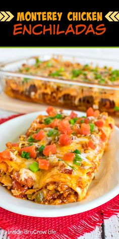 Monterey Chicken Enchiladas - these enchiladas are loaded with barbecue chicken, cheese, and tomatoes. Quick and easy dinner recipe that your entire family will enjoy. Mexican Dishes, Mexican Food Recipes, Vegetarian Recipes, Cooking Recipes, Meat Recipes, Monterey Chicken, Enchilada Recipes, Chicken Enchiladas, Chicken Casserole