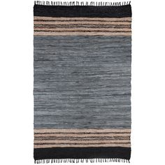 Hand-woven Grey Leather Chindi Rug (8' x 10') - Overstock™ Shopping - Great Deals on St Croix Trading 7x9 - 10x14 Rugs