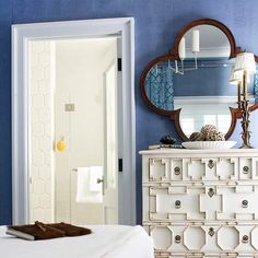 BHG: Beautiful denim blue wall color with white trim. A Somerset Bay Essex Chest in Vanilla ...
