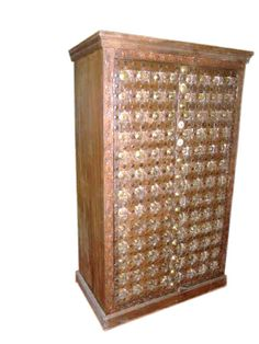 Haveli Old Door Ornate Brass Cabinet Antique Armoire India Chest 67x39  $1,979.00