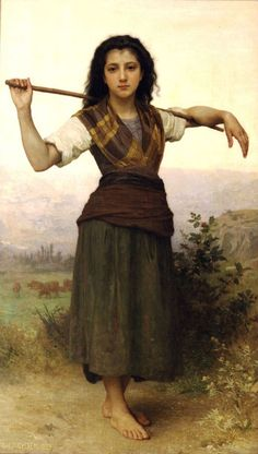 Pastourelle-William Adolphe Bouguereau (1825 – 1905, French)