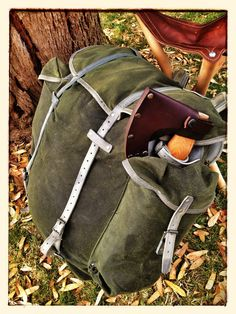 Waxed canvas reconditioned vintage army rucksack