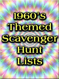 1960's party ideas | 1960's Themed Scavenger Hunt Lists Collection