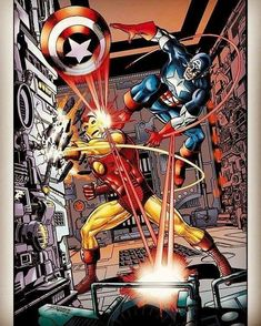 The Invincible Iron Man versus Captain America by George Perez. Marvel Comics Art, Marvel Heroes, Marvel Movies, Marvel Dc, Comic Book Characters, Comic Books Art, Comic Art, Captain America Comic, Avengers Art