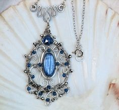 Artisan Wire Wrapped Kyanite Necklace Sterling Filigree with Jade | OwlHollowStudio - Jewelry on ArtFire