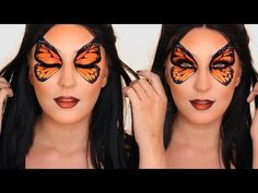 I hope you enjoy this butterfly makeup tutorial. This butterfly makeup tutorial is perfect for Halloween. I feel like this butterfly makeup is su. Butterfly Face Paint, Butterfly Makeup, Butterfly Eyes, Cute Halloween Makeup, Halloween Eyes, Creepy Halloween, Nyx Face Awards, Maquillaje Halloween Tutorial, Makeup Art