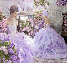 stunning purple gothic lilac pink wedding dress bridal