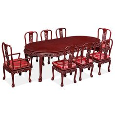 96in Dragon Motif Oval Dining Table with 8 chairs.  Intricately handcrafted from solid rosewood with Chinese imperial dragon design. Rich cherry finish. Oriental Rosewood dining set