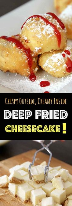 Crispy & Creamy Deep Fried Cheesecake – Crispy outside and creamy inside! you can't resist this delicious dessert made with your favorite frozen or leftover cheesecake. It only requires a few simple ingredients: flour, baking powder, salt, sugar, milk and oil. It's great for a party, cheat days or a midnight snack. So yummy! No bake dessert. Vegetarian. Video recipe. | http://tipbuzz.com