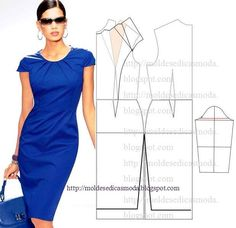 Pleated neckline sheath dress