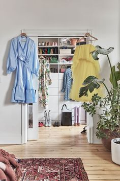 Just like media mogul Babba C. Rivera's personal style, this breezy Brooklyn apartment is designed to feel as good as it looks. See inside this Swedish it-girl's home. Walk In Wardrobe, Wardrobe Rack, Quebec, Hygge, Oasis, Art Et Design, Brooklyn Apartment, Brooklyn Heights, Girl House