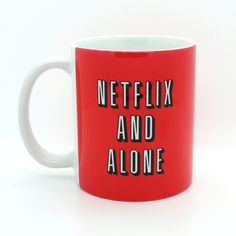 Netflix and Alone Mug Funny Mug 4p101b ($15) ❤ liked on Polyvore featuring home, kitchen & dining, drinkware, accessories, filler, kitchen, mugs, grey, drink & barware and home & living