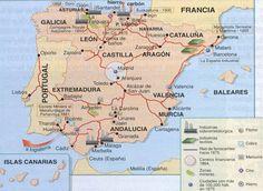 Mapa en el que se representan las principales industrias españolas en el desarrollo de la Revolución Industrial en España.