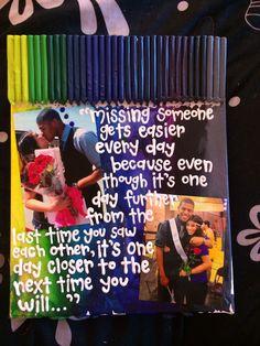 Boyfriend/girlfriend long distance quote & picture crayon canvas