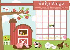 Farm Baby BINGO Farm Baby Shower Game INSTANT by PinkLemonadeTree, $1.99