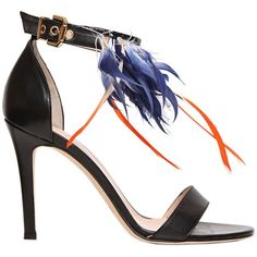 MSGM 100mm Goose Feathers & Leather Sandals ($545) found on Polyvore featuring shoes, sandals, heels, scarpe, обувь, black, leather shoes, heeled sandals, high heel sandals and black leather shoes
