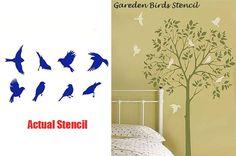 Versatile Garden Birds Stencil from Cutting Edge Stencils #cuttingedgestencils #stencils #wallstencils #birdstencils