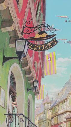 Studio Ghibli's Howl's Moving Castle Studio Ghibli Art, Studio Ghibli Movies, Personajes Studio Ghibli, Studio Ghibli Background, Manga Anime, Anime Art, Howl And Sophie, Anime Scenery, Hayao Miyazaki