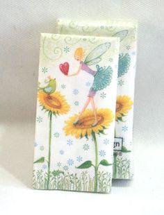Fazzoletti di carta deco Fatina e Girasoli. 10 pz per piccoli pensierini, gadget fine feste, decoupage e hobbistica. Disponibili da C&C Creations Store