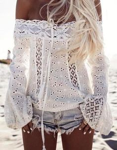 #summer #outfits White Crochet Lace Off The Shoulder Top + Bleached Denim Short ✨