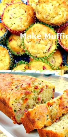 Bacon Cheddar Zucchini Bread or Muffins great for parties pot lucks and also freezer friendly too! Bacon Cheddar Zucchini Bread or Muffins great for parties pot lucks and also freezer friendly too! Zucchini Loaf, Zucchini Scones Recipe, Bacon Zucchini Quiche, Large Zucchini Recipes, Courgette Bread, Zucchini Squares, Cheesy Zucchini Bake, Bread Recipes, Vegetarian Recipes
