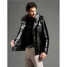 Men's Sheepskin Zipped Coat with Fox Fur Lining Mens Leather Coats, Leather Jackets, Casual Wear For Men, Sheepskin Coat, Shearling Coat, Mens Fashion, Fashion Outfits, Sexy Men, Fox Fur
