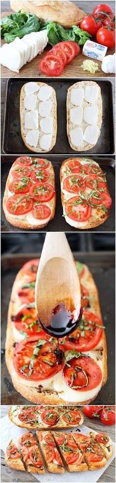 Ingredientes: pan grande , tomate, queso, pasta de tomate y al horno