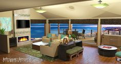 Our e-decorating Asian-Fusion style 3-D rendering for a San Diego, CA living room.  www.intrigueandinspireedecor.com