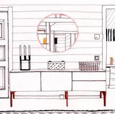Wanddeko Deko Illustration Zeichnung Print Interior Interior Illustration Geschenk Skizze Hausdeko Berlin Illustration von paulinepolom auf Etsy