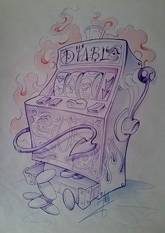 #dibujo #drawing #tragaperras #slotmachine #monedas #coins #win #winner #casino #diablo  #devil