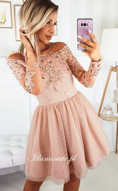 Off Shoulder Long Sleeve Lace A-line Tulle Homecoming Dress, 8th Grade Graduation Dresses, Grad Dresses, Homecoming Dresses, Prom Dress, Graduation Outfits, Prom Outfits, Dresses Short, Short Lace Dress, Light Pink Dress Short