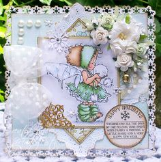 A Sprinkling of Glitter: Snowball Kisses - Addicted To Stamps DT Card
