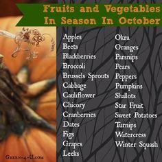 October seasonal vegetables