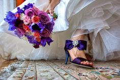 Purple/pink bouquet and purple shoes