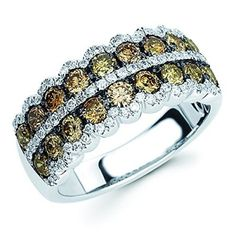 14K White Gold 1.62 Ctw. Brown & White Diamond Fashion Band Ring (I color, I1 clarity)