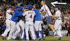 Random Mets Fan in Gary Carter Jersey Rushes Field To Celebrate Johan Santana No-Hitter.