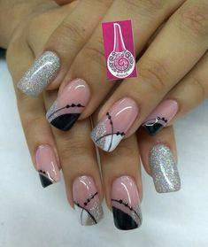 Hot Nails, Pink Nails, Glitter Nails, Manicure Nail Designs, Nail Manicure, Pretty Nail Art, Beautiful Nail Art, Airbrush Nails, Nail Art Designs Videos