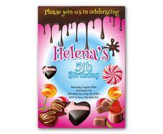 Willy Wonka Pink Girl Birthday Kids Birthday Invitation Party Design