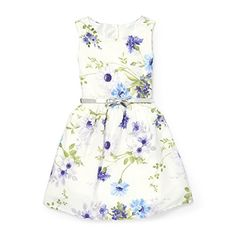 2e204deaca Girls Sleeveless Keyhole Back Floral Belted Woven Dress