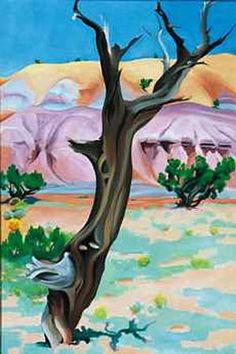 Georgia O'Keeffe Cedar Tree with Lavender Hills, 1937 http://reproduction-gallery.com/oil_painting/details/copy_artist/1092442869/masterpiece/Georgia_O'Keeffe/museum_quality/Cedar_Tree_with_Lavender_Hills,_1937.xhtml