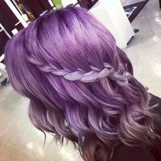 Purple Hair with Braid ❤ liked on Polyvore featuring beauty products, haircare, hair styling tools, hair, hairstyles, hair styles and pictures