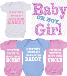 If you think I'm cute  see my AUNTIE T-SHIRT or Bodysuit/Onesie any family member or design your own on Etsy, £5.99