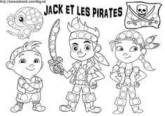 coloriage pour gommette Jack et les pirates